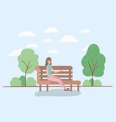 beautiful woman sitting on park chair vector image