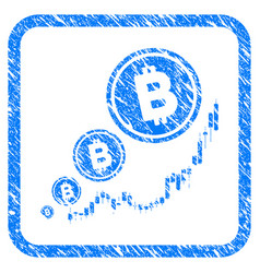 bitcoin inflation chart framed stamp vector image