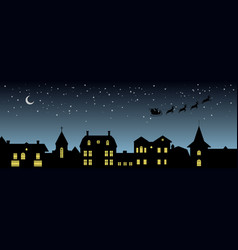 Black christmas panorama night city silhouette vector