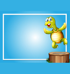 Border template with cute turtle vector