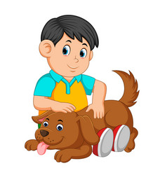 Boy scratching dogs back vector
