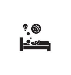 bright idea in bed black concept icon vector image