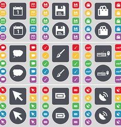 Calendar Floppy Shopping bag Chat cloud Brush vector image