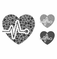 Cardio pulse mosaic icon humpy items vector