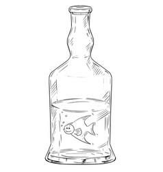 Cartoon man as fish swimming in hard liquor or vector
