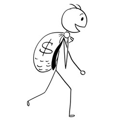 Cartoon of smiling businessman carry large bag of vector