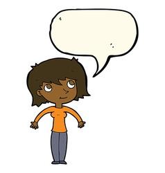 Cartoon woman shrugging with speech bubble vector