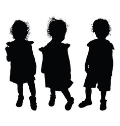 Child silhouette pretty collection vector