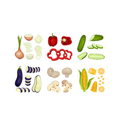 Chopped vegetables and mushrooms for cooking vector