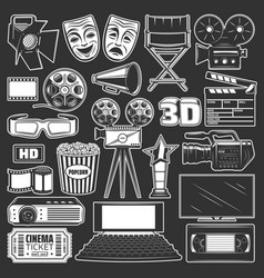 cinema movie and film reel popcorn 3d glasses vector image