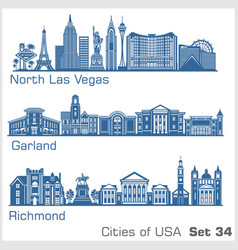 Cities usa - north las vegas garland richmond vector