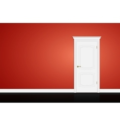 Closed white door on red wall vector image