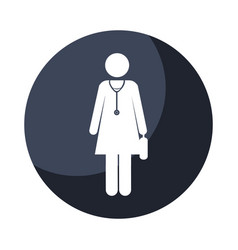 color circular frame shading with pictogram female vector image