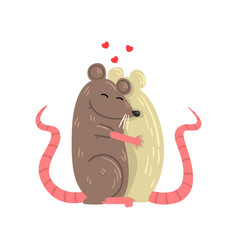 Couple of mice in love embracing each other two vector