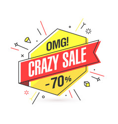 Crazy sale banner template in flat trendy memphis vector