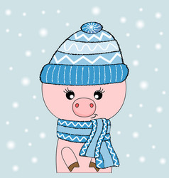 Cute pig in hat and pink glasses vector