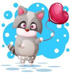 cute raccoon with pink balloon vector image