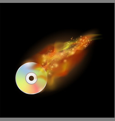 Digital burning compact disc with fire and flame vector