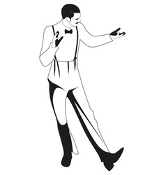 Elegant man wearing vintage style clothes dancing vector