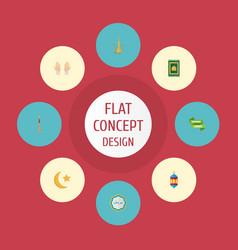 Flat icons prayer carpet islamic lamp pitcher vector