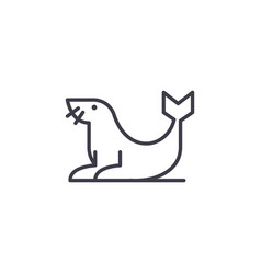 Fur seal line icon sign on vector