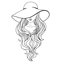 girlinhat long lt vector image