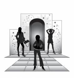 girls on podium vector image