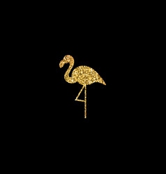 golden flamingo silhouette vector image