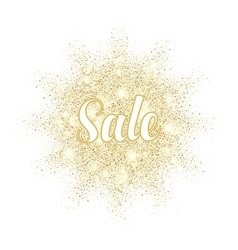 Golden sand splash Sale label on white background vector