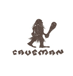 grunge caveman with a cudgel in his hands vector image