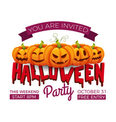 halloween banner 31 october party invitation vector image