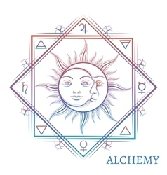 Hand drawn alchemy symbol vector