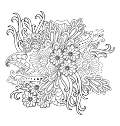 Hand drawn patterned floral frame in doodle style vector image