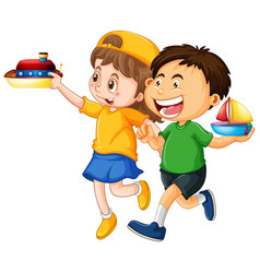 happy children playing toys vector image