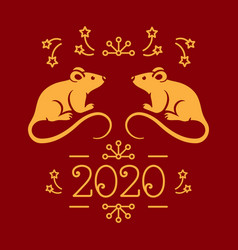 happy new year card 2020 year rat vector image