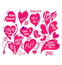 happy valentine s day dooddle art collection vector image