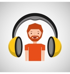 headphones music cartoon guy beard vector image