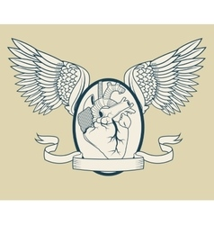 Heart with wings tattoo art design vector