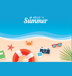 Hello summer card banner with vacation beach vector
