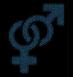 Heterosexual symbol collage icon of halftone vector
