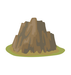 High steep mountain with grass the dark colors vector