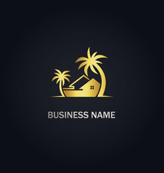 home cottage palm tree gold logo vector image