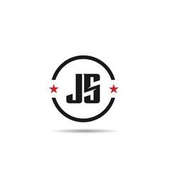 initial letter js logo template design vector image