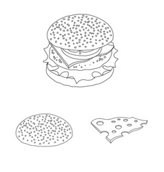 isolated object of burger and sandwich icon vector image