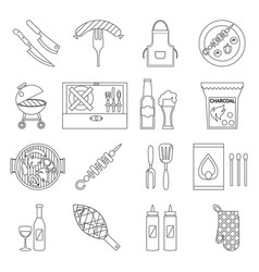 lineart barbecue grill cooking meat steak picnic vector image