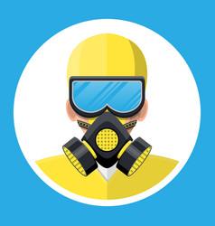 man in yellow hazmat suit with respirator vector image