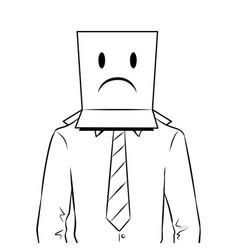 Man with box sad emoji on head coloring vector