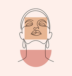 minimal woman face and geometric shape vector image
