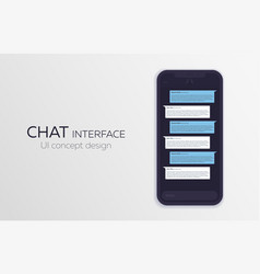 Mobile ui design concept trendy chat application vector