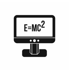 Monitor with einstein formula icon simple style vector